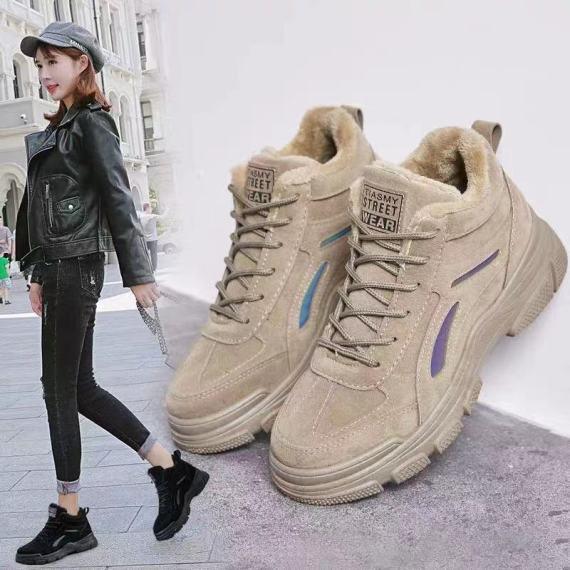 马丁女靴2020冬季加绒新款反光棉鞋女保暖百搭学生短靴韩版女靴子