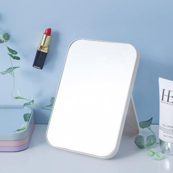 简易便携折叠镜子 长方形高清单面化妆镜 北欧色塑料美容镜