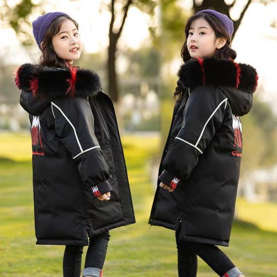 女童羽绒服中长款新款韩版儿童中大童大毛领童装外套