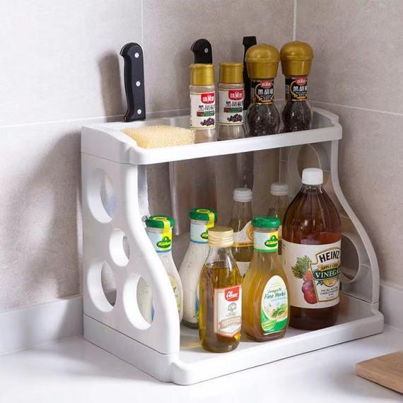 双层厨房置物架调味料收纳架 落地塑料刀架 调味品架子