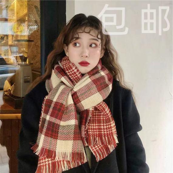 2020韩国东大门双面格子针织保暖复古围巾女秋冬仿羊绒Ins