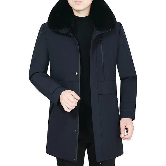男式羽绒服冬季2020新款休闲中长款外套男装中老年保暖连帽外套
