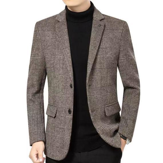 2020秋冬季新款 休闲中长款毛呢外套 男士休闲西装领呢修身商务上衣