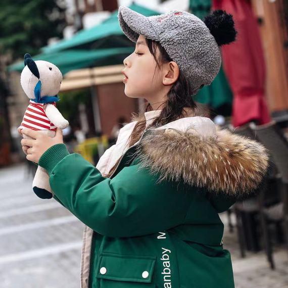 女童羽绒服中长款 儿童韩版加厚白鸭绒冬装 洋气外套